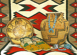 Pueblo Indian pottery, baskets, moccasins and turquoise jewelry at two star trading